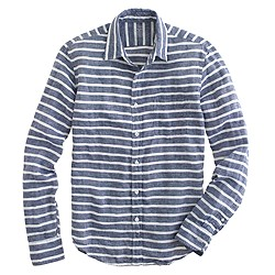 Slim Irish linen shirt in broad stripe