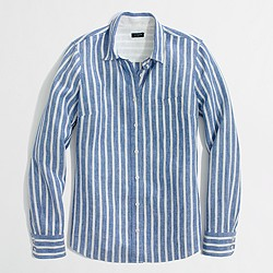 Factory stripe classic button-down shirt in linen