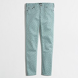 Factory cropped printed straight and narrow jean