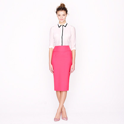 Petite telegraph pencil skirt in Super 120s