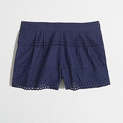 "Factory 3"" scalloped eyelet short"