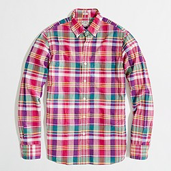 Factory slim washed shirt in summer plaid
