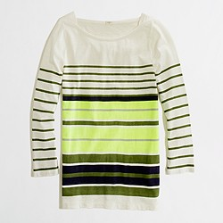 Factory multistripe boatneck tee