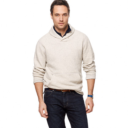 Marled fleece shawl-collar sweatshirt