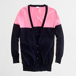 Factory summerweight cotton cardigan in colorblock