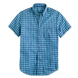 Lightweight short-sleeve shirt in frosted aqua gingham