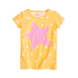 Girls' dot tee with sequin star