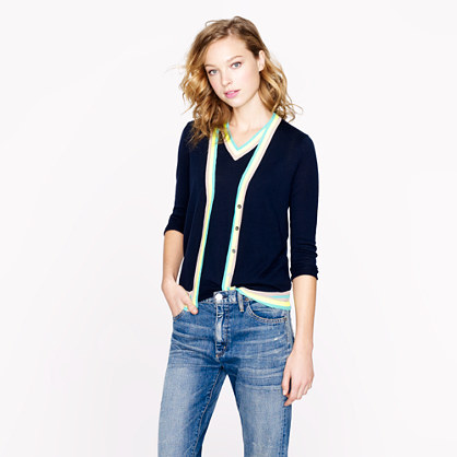 Lightweight merino cardigan with neon trim