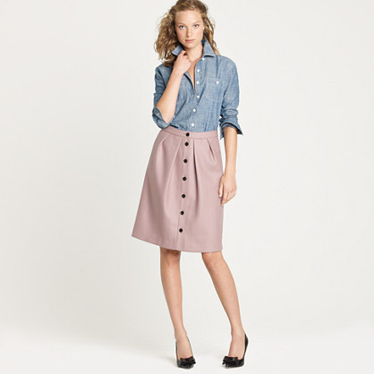 Flair skirt in double-serge wool