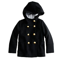 Girls' hooded collegiate peacoat