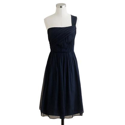Lucienne one-shoulder dress in silk chiffon