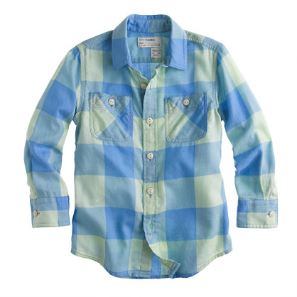 Boys' brushed cotton shirt in gingham mint