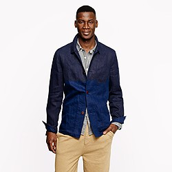 Unconstructed worker jacket in colorblock linen