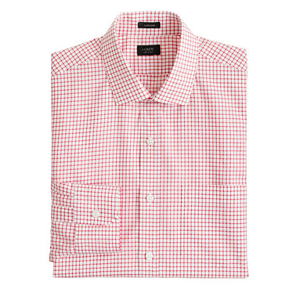 Ludlow spread-collar shirt in beacon red check