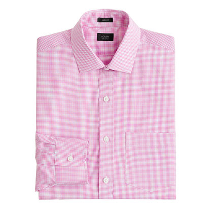 Ludlow spread-collar shirt in plum gingham