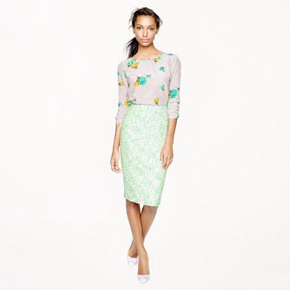 No. 2 pencil skirt in clover tweed