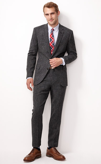Ludlow suit jacket with double vent in bird's-eye English wool tweed