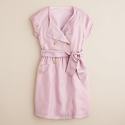 Girls' silk trench-dress
