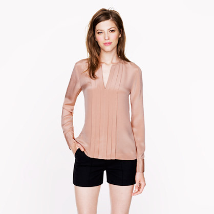 Pleated silk crepe blouse