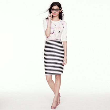 Collection pencil skirt in raffia stripe