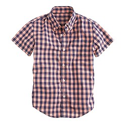 Boys' Secret Wash short-sleeve shirt in neon persimmon medium gingham