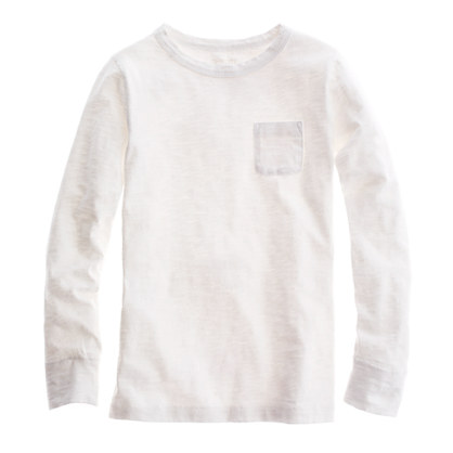 Boys' long-sleeve slub pocket tee
