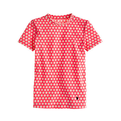 Girls' short-sleeve rash guard in graphic dot