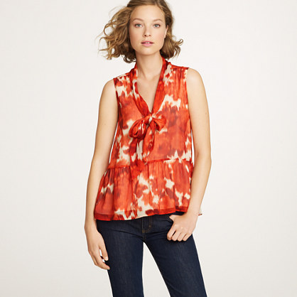 Silk scarf tank in floating rose   sleeveless   Womens shirts & tops