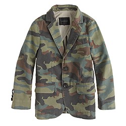 Boys' unconstructed Ludlow suit jacket in camo print chino