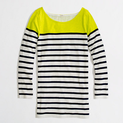 Buy tees & t shirts - Factory colorblock stripe boatneck TEE
