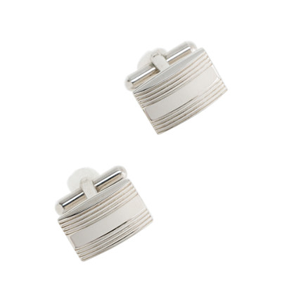 Rectangle silver cuff links