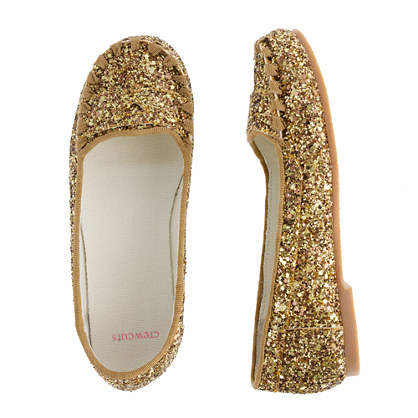 Girls' glitter penny loafers