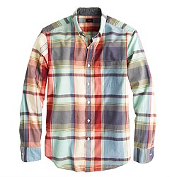 Slim Indian cotton shirt in poppy plaid