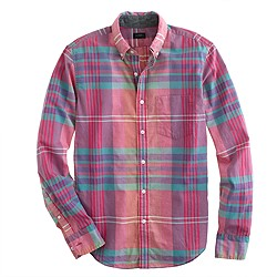 Tall Indian cotton shirt in flash pink plaid