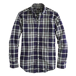 Slim Indian cotton shirt in deep pacific plaid