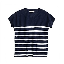 Girls' Collection cashmere V-neck popover in stripe