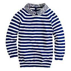 Liberty-collar merino sweater in stripe