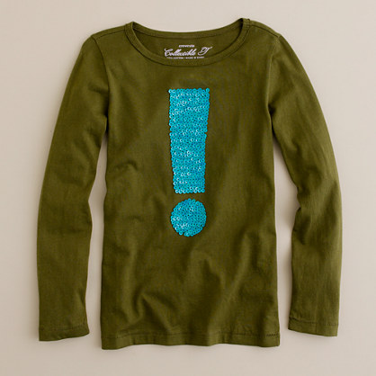 Girls' long-sleeve exclamation tee