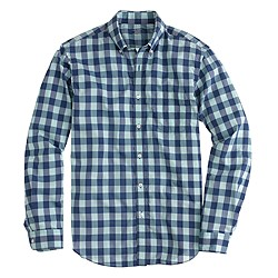 Tall lightweight shirt in aqua gingham