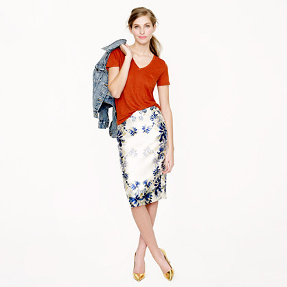 Collection No. 2 pencil skirt in shadow floral