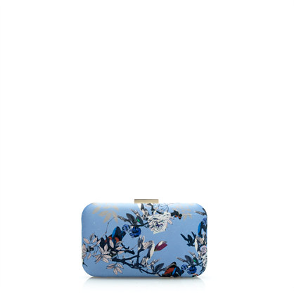 Silk minaudière in hummingbird floral