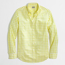 Factory slim washed shirt in two-color gingham