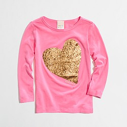 Factory girls' long-sleeve glitter heart keepsake tee