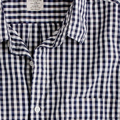 Secret Wash short-sleeve shirt in navy gingham