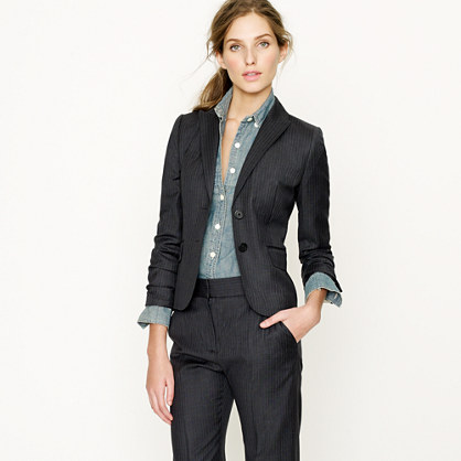 Aubrey jacket in pinstripe Super 120s - Super 120s Pinstripe - Women's suiting - J.Crew :  aubrey jacket in pinstripe super 120s j crew suit womens suit grey super 120s pinstripe womens suiting