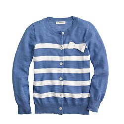 Girls' Caroline cardigan in stripe with bow