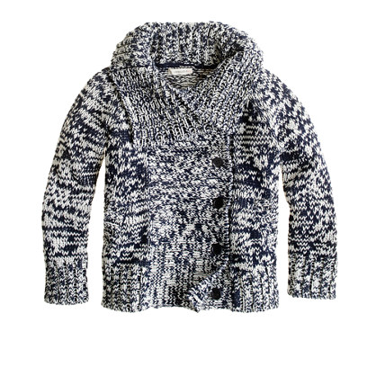 Girls' marled cotton sweater-jacket