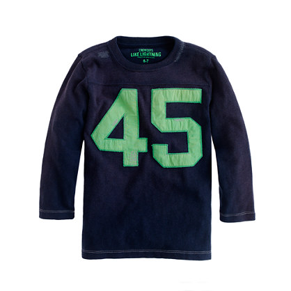 Boys' three-quarter sleeve #45 football tee