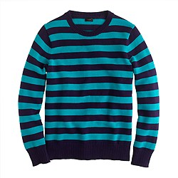 Cotton crewneck sweater in stripe