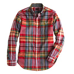 Indian cotton shirt in milan red plaid